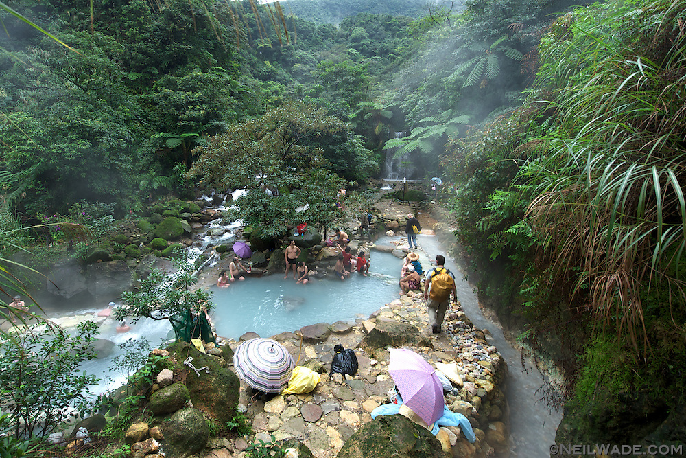 A wild hot spring in Yanfming Shan Park in Taiwan.