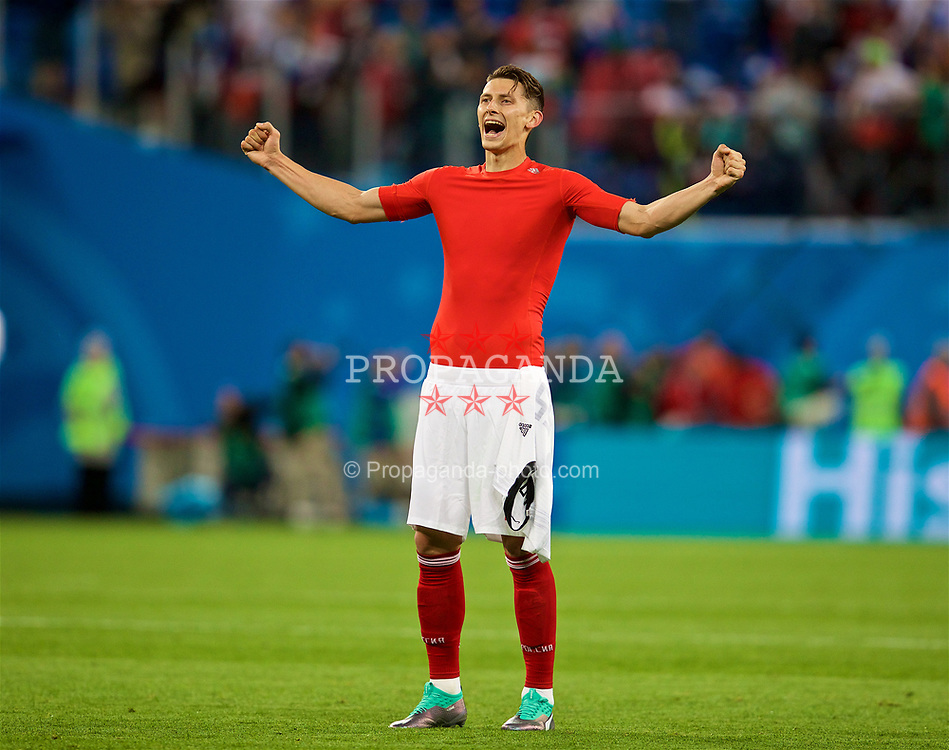 SAINT PETERSBURG, RUSSIA - Tuesday, June 19, 2018: Russia's Ilya Kutepov celebrates as his side beat Egypt 3-1 during the FIFA World Cup Russia 2018 Group A match between Russia and Egypt at the Saint Petersburg Stadium. (Pic by David Rawcliffe/Propaganda)
