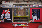 Detail of a poster for Marlboro at a business selling tobacco and smoking paraphernalia in the modern city of Luxor, Nile Valley, Egypt.
