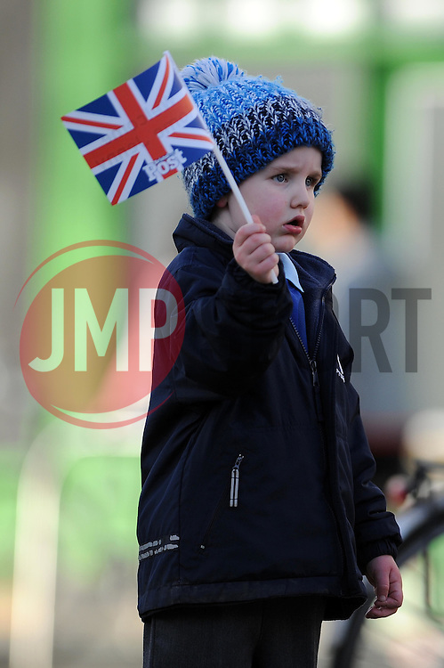 A young boy waves his Union Jack flag before Jenny Jones' arrival - Photo mandatory by-line: Dougie Allward/JMP - Tel: Mobile: 07966 386802 03/03/2014