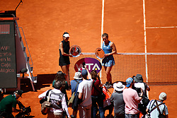 May 11, 2019 - Madrid, MADRID, SPAIN - Su-Wei Hsieh (TPE) and Barbora Strycova (CZE) during the Mutua Madrid Open 2019, WTA Doubles Final, (ATP Masters 1000 and WTA Premier) tenis tournament at Caja Magica in Madrid, Spain, on May 11, 2019. (Credit Image: © AFP7 via ZUMA Wire)