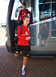 SOUTHAMPTON, ENGLAND - Thursday, April 5, 2018: Wales' Melissa Fletcher arrives before a training session at St. Mary's Stadium ahead of the FIFA Women's World Cup 2019 Qualifying Round Group 1 match against England. (Pic by David Rawcliffe/Propaganda)