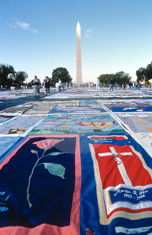 The entire AIDS Memorial Quilt is spread out along the National Mall October 12, 1996 in Washington, DC.
