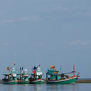 Thai fishing boats in Khao Sam Roi Yot National Park, Thailand