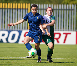 HAVERFORDWEST, WALES - Sunday, August 25, 2013: Wales' Lia Lewis in action against France's Aurelie Gagnet during the Group A match of the UEFA Women's Under-19 Championship Wales 2013 tournament at the Bridge Meadow Stadium. (Pic by David Rawcliffe/Propaganda)
