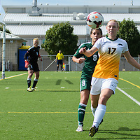 2nd year midfielder Jet Davies (17) of the Regina Cougars fights for possessionduring the Women's Soccer Homeopener on September 10 at U of R Field. Credit: Arthur Ward/Arthur Images