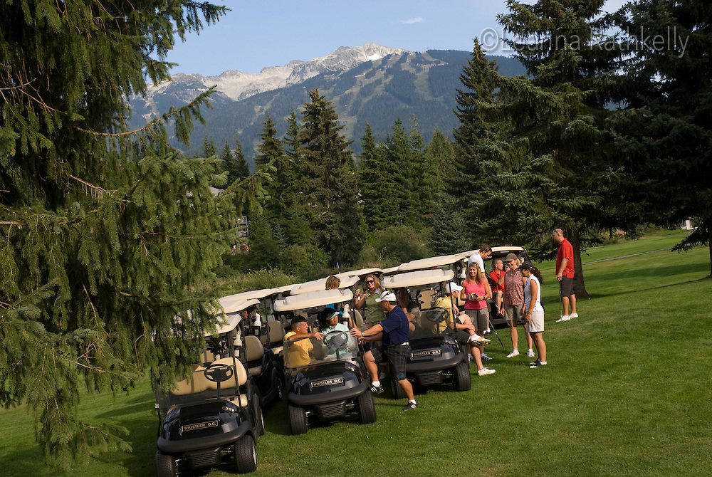 The start of a shotgun golf tournament on the Whistler Golf Course, Whistler, BC Canada