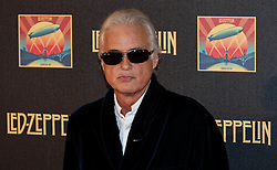 © Licensed to London News Pictures. 12/10/2012. London, UK.  Led Zeppelin guitarist Jimmy Page at the cinema premiere of Celebration Day, the recording of their 2007 live show held at the O2 Arena, screened at the Hammersmith Apollo.  Photo credit : Richard Isaac/LNP