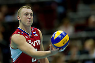 Alexey Spiridinov from Russia in action during the 2013 CEV VELUX Volleyball European Championship match between Russia v Slovakia at Ergo Arena in Gdansk on September 24, 2013.<br /> <br /> Poland, Gdansk, September 24, 2013<br /> <br /> Picture also available in RAW (NEF) or TIFF format on special request.<br /> <br /> For editorial use only. Any commercial or promotional use requires permission.<br /> <br /> Mandatory credit:<br /> Photo by © Adam Nurkiewicz / Mediasport