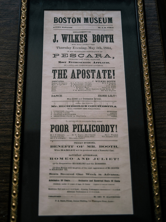 A play bill of John Wilkes Booth at the home Terry Alford in Annandale, Va. on April 11, 2015. Alford's new book is titled Fortune's Fool: The Life of John Wilkes Booth.
