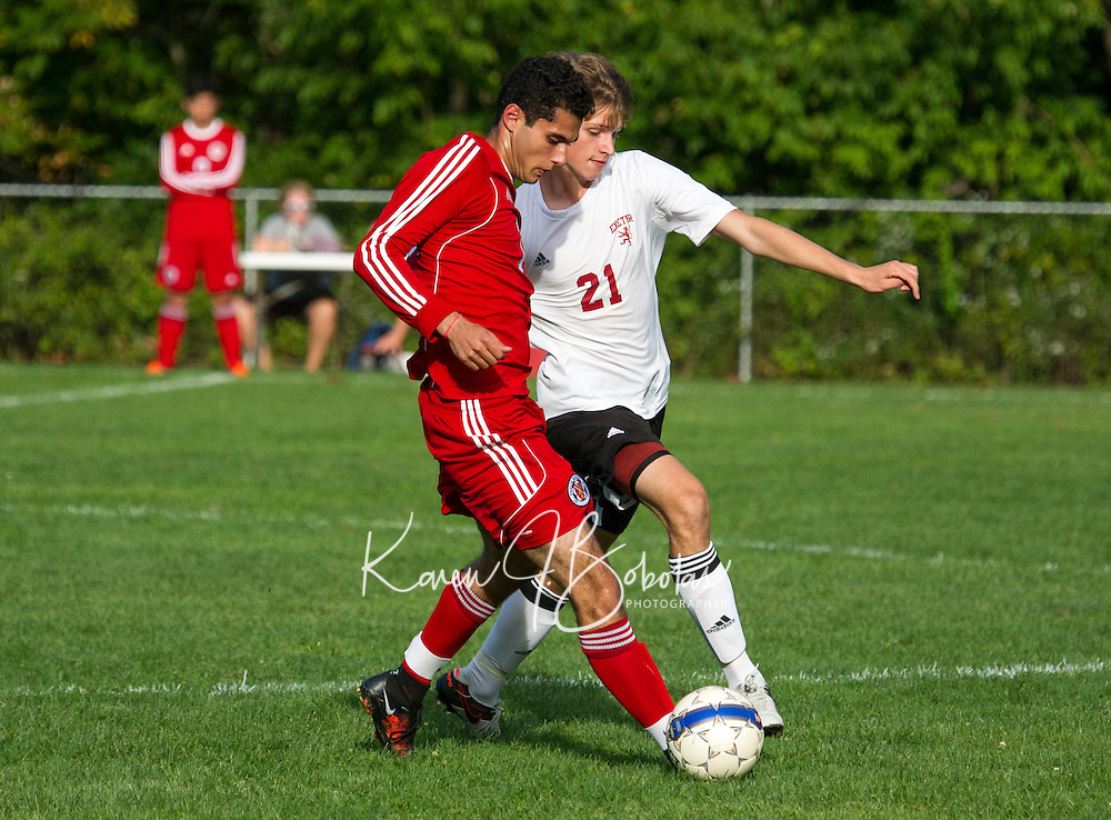 St Paul's School varsity soccer versus Exeter.  ©2016 Karen Bobotas Photographer