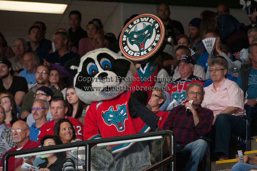 KELOWNA, CANADA - MAY 11: Rocky Racoon gets the crowd going on May 11, 2015 during game 3 of the WHL final series at Prospera Place in Kelowna, British Columbia, Canada.  (Photo by Marissa Baecker/Shoot the Breeze)  *** Local Caption *** Rocky;
