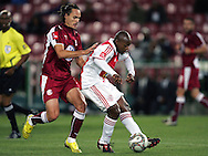 Nhlanhla Shabalala is tackled by Davi Rancan during the PSL match between Ajax Cape Town and Moroka Swallows held at Newlands Stadium in Cape Town, South Africa on 28 October 2009..Photo by Ron Gaunt/SPORTZPICS