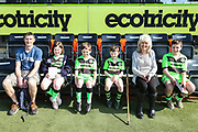 Match day mascots with Jilly Cooper during the EFL Sky Bet League 2 match between Forest Green Rovers and Milton Keynes Dons at the New Lawn, Forest Green, United Kingdom on 30 March 2019.