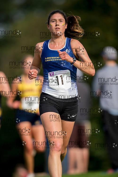Emily Driedger of the Laurentian Voyageurs runs at the 2014 Western International Cross country meet in London Ontario, Saturday,  September 20, 2014.<br /> Mundo Sport Images/ Geoff Robins