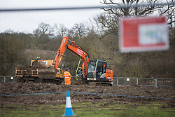 Harefield, UK. 13 January, 2020. Digging equipment being used by HS2 construction engineers close to Harvil Road. 108 ancient woodlands are set to be destroyed by the high-speed rail link and further destruction of trees for HS2 in the Harvil Road area is believed to be imminent.