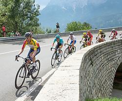07.07.2017, St. Johann Alpendorf, AUT, Ö-Tour, Österreich Radrundfahrt 2017, 5. Etappe von Kitzbühel nach St. Johann/Alpendorf (212,5 km), im Bild v.l. Stefan Denifl (AUT, Team Aqua Blue Sport) im gelben Trikot, Moreno Miguel Angel Lopez (COL, Astana Pro Team) // f.l. Stefan Denifl of Austria (Aqua Blue Sport) in the yellow jersey in front of Miguel Angel Lopez Moreno of Colombia (Astana Pro Team) during the 5th stage from Kitzbuehel to St. Johann/Alpendorf (212,5 km) of 2017 Tour of Austria. St. Johann Alpendorf, Austria on 2017/07/07. EXPA Pictures © 2017, PhotoCredit: EXPA/ Reinhard Eisenbauer