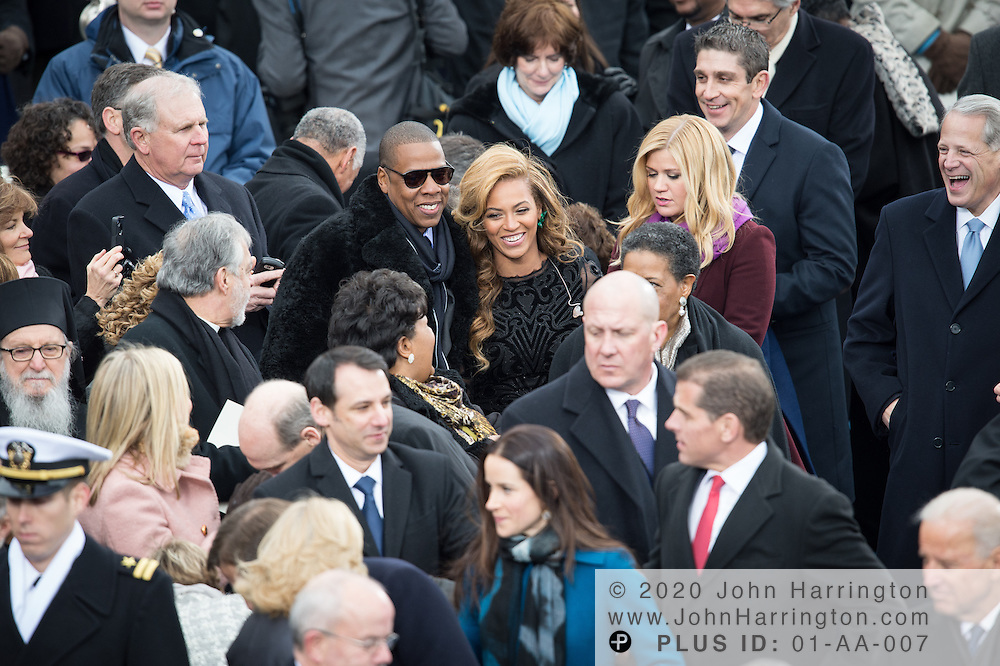 Jay-Z and Beyonce after her singing performance during the 57th Presidential Inauguration of President Barack Obama at the U.S. Capitol Building in Washington, DC January 21, 2013.