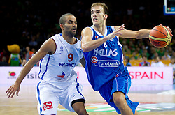 Tony Parker of France vs Nick Calathes of Greece during basketball game between National basketball teams of France and Greece at of FIBA Europe Eurobasket Lithuania 2011, on September 15, 2011, in Arena Zalgirio, Kaunas, Lithuania. France defeated Greece 64-56.  (Photo by Vid Ponikvar / Sportida)