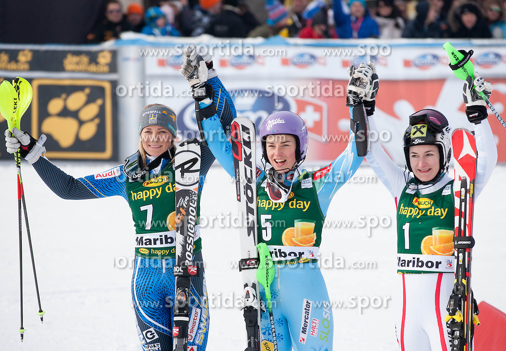 """Second placed HANSDOTTER Frida (SWE), Winner MAZE Tina (SLO) and third placed ZETTEL Kathrin (AUT) celebrate after the FIS Alpine Ski World Cup 7th Ladies' Slalom race named """"49th Golden Fox 2013"""", on January 27, 2013 in Mariborsko Pohorje, Maribor, Slovenia. (Photo By Vid Ponikvar / Sportida.com)"""