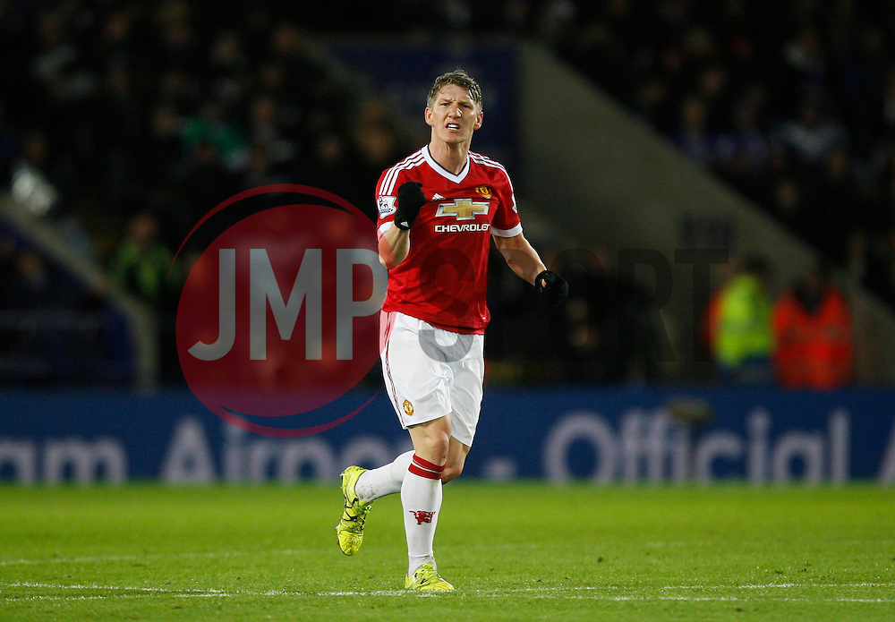 Bastian Schweinsteiger of Manchester United celebrates scoring his sides first goal  - Mandatory byline: Jack Phillips/JMP - 07966386802 - 28/11/2015 - SPORT - FOOTBALL - Leicester - King Power Stadium - Leicester City v Manchester United - Barclays Premier League