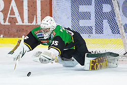 29.01.2013, Hala Tivoli, Ljubljana, SLO, EBEL, HDD Olimpija Ljubljana vs Dornbirner Eishockey Club, 4. Qualifikationsrunde, im Bild Jerry Kuhn (HDD Olimpija, #35) covers a puck // during the Erste Bank Icehockey League 4th Qualification Round match between HDD Telemach Olimpija Ljubljana and Dornbirner Eishockey Club at the Hala Tivoli, Ljubljana, Slovenia on 2013/01/29. EXPA Pictures © 2013, PhotoCredit: EXPA/ Sportida/ Matic Klansek Velej..***** ATTENTION - OUT OF SLO *****