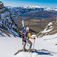"Elijah Weber hiking the ""Super Gully"" on Lost River Peak in Idaho"