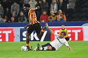 Hull City defender Ola Aina (34) and Preston North End midfielder John Welsh (19)  during the EFL Sky Bet Championship match between Hull City and Preston North End at the KCOM Stadium, Kingston upon Hull, England on 26 September 2017. Photo by Ian Lyall.