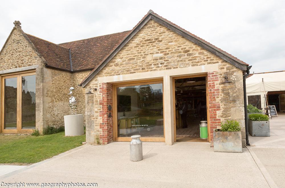Hauser and Wirth art gallery, restaurant and garden, Durslade Farm, Bruton, Somerset, England, UK
