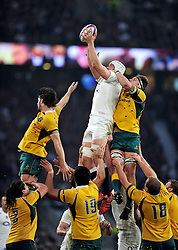 Dave Attwood of England rises high to win lineout ball  - Photo mandatory by-line: Patrick Khachfe/JMP - Mobile: 07966 386802 29/11/2014 - SPORT - RUGBY UNION - London - Twickenham Stadium - England v Australia - QBE Internationals