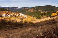 Pastoral scene around a small village in the mountain