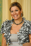 Princess Maxima  pose for the media before the statebanquet at palace Noordeinde in The Hague.