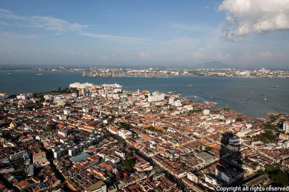 aerial view of the George Town World Heritage site. Mainland Malaysia is in the far distance. Penang, Malaysia