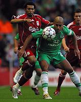 Photo: Paul Thomas.<br /> Liverpool v Maccabi Haifa. UEFA Champions League Qualifier. 09/08/2006.<br /> <br /> Jermaine Pennant of Liverpool tries to get past Yaniv Katan (R).
