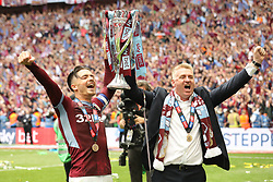 May 27, 2019 - London, England, United Kingdom - Jack Grealish (10) of Aston Villa and Aston Villa Manager Dean Smith celebrate after winning the EFL Championship Play-Off Final  during the Sky Bet Championship Play Off Final between Aston Villa and Derby County at Wembley Stadium, London on Monday 27th May 2019. (Credit Image: © Mi News/NurPhoto via ZUMA Press)
