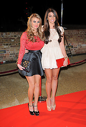 The Only Way Is Essex stars Billi Mucklow and Cara Kilbey arriving for the Live Show in Essex. UK. 03/12/2012<br />