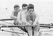 Nottingham. United Kingdom. <br /> Bow. C. BARTLETT, 2. Jim GARMAN, 3. Colin GREENAWAY and Stroke Richard PHELPS<br /> Nottingham International Regatta, National Water Sport Centre, Holme Pierrepont. England<br /> <br /> 31.05.1986 to 01.06.1986<br /> <br /> [Mandatory Credit: Peter SPURRIER/Intersport images] 1986 Nottingham International Regatta, Nottingham. UK