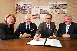 Left to right .Jacqui Gedman of Kirklees Council, Alan Lewis CBE Chairman of Hartley Property Group, Stefan Gabriel President of 3M new ventures and Prof. Bob Cragan Vice Chair of the University of Huddersfield, Signing the  Joint Venture agreement on Monday Morning (18 June 2012) which will turn the .150,000 Square foot Globe Mills into the The Globe Innovation Centre...18 June 2012.Image © Paul David Drabble