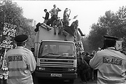 Ravers protesting from their van, 3rd Criminal Justice March,  London, 9th of October.