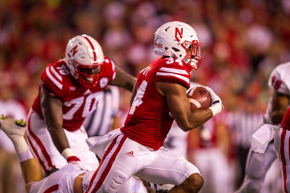 September 12, 2015: Terrell Newby #34 of the Nebraska Cornhuskers rushes with the ball against the South Alabama Jaguars at Memorial Stadium in Lincoln, Nebraska.  Nebraska 48 South Alabama 9.