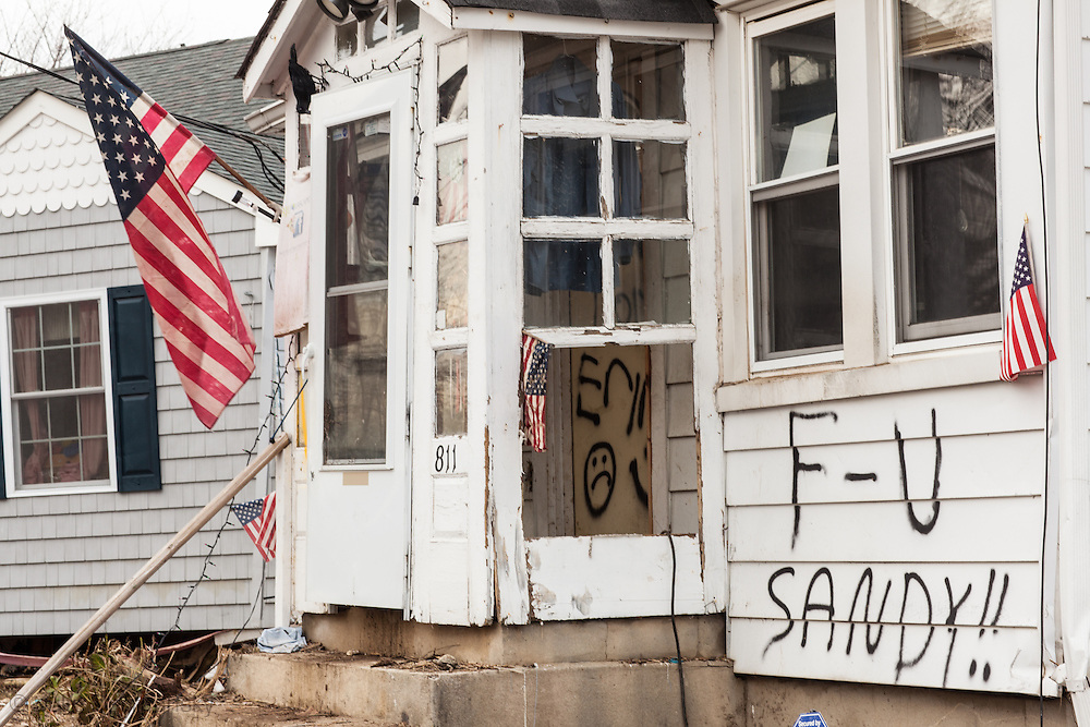 Union Beach NJ, November 16, A totaled home damaged by superstorm Sandy's surge hit that hit the city causing massive destruction. Hurricane Sandy caused billions of dollars of damage. The superstorm is being blamed on climate change by many scientists.