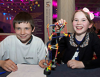 Hughaidh Morgan and Aoife Keating from Ballymana NS at the Medtronic Community Event , comprising of projects about Healthy Living and the heart, KNEX finals and Lean Sigma catapult competition organised by the Galway Education Centre at the Radisson Blu Hotel Galway. Photo:Andrew Downes.