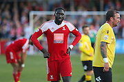 Whitehawk Chris M'Boungou during the National League South Play Off 1st Leg match between Whitehawk FC and Ebbsfleet United at the Enclosed Ground, Whitehawk, United Kingdom on 4 May 2016. Photo by Phil Duncan.
