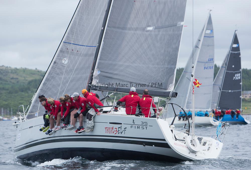 Silvers Marine Scottish Series 2017<br /> Tarbert Loch Fyne - Sailing<br /> <br /> FRA37296, Triple Elf, Christine Murray, CCC/Fairlie YC, Beneteau First 35<br /> <br /> Credit: Marc Turner / CCC