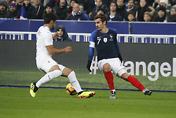 France's Antoine Griezmann battling Uruguay's Bruno Mendez during France v Uruguay friendly football match at the Stade de France in Saint-Denis, suburb of Paris, France on November 20, 2018. France won 1-0. Photo by Henri Szwarc/ABACAPRESS.COM