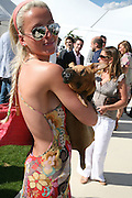 Perdita Martell and her dog Max, Cartier International Polo. Guards Polo Club. Windsor Great Park. 29 July 2007.  -DO NOT ARCHIVE-© Copyright Photograph by Dafydd Jones. 248 Clapham Rd. London SW9 0PZ. Tel 0207 820 0771. www.dafjones.com.