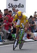 France - Tuesday, Jul 08 2008:  Wearing the maillot jaune (yellow jersey) as leader in the general classification, Agritubel's Romain Feillu powers out of a corner towards La Romagne during Stage 4 of the 2008 Tour de France cycle race.  Feillu completed the 29.5km time trial out and back to Cholet in a time of 40 mins 43 seconds which was 4 min 59 seconds behind the stage winner Gerolsteiner's Stefan Schumacher.   (Photo by Peter Horrell / http://www.peterhorrell.com)