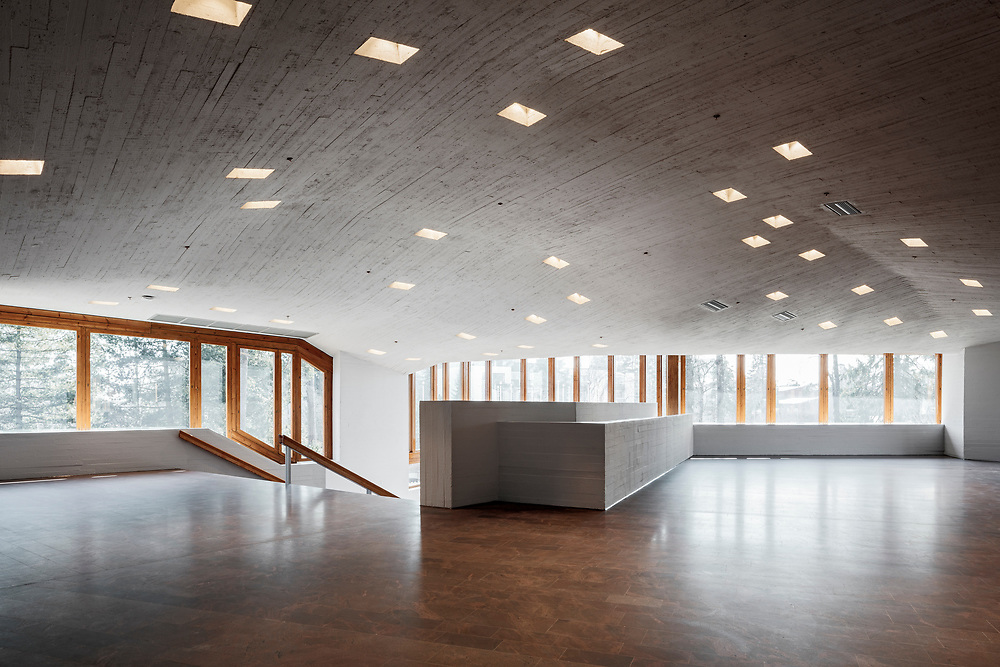 Aalto university Dipoli in Espoo, Finland designed by Reima and Raili Pietilä and completed in 1966. Renovation and restoration designed by ALA Architects in 2017.
