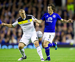 LIVERPOOL, ENGLAND - Wednesday, October 26, 2011: Everton's Leighton Baines in action against Chelsea's Oriol Romeu during the Football League Cup 4th Round match at Goodison Park. (Pic by Vegard Grott/Propaganda)