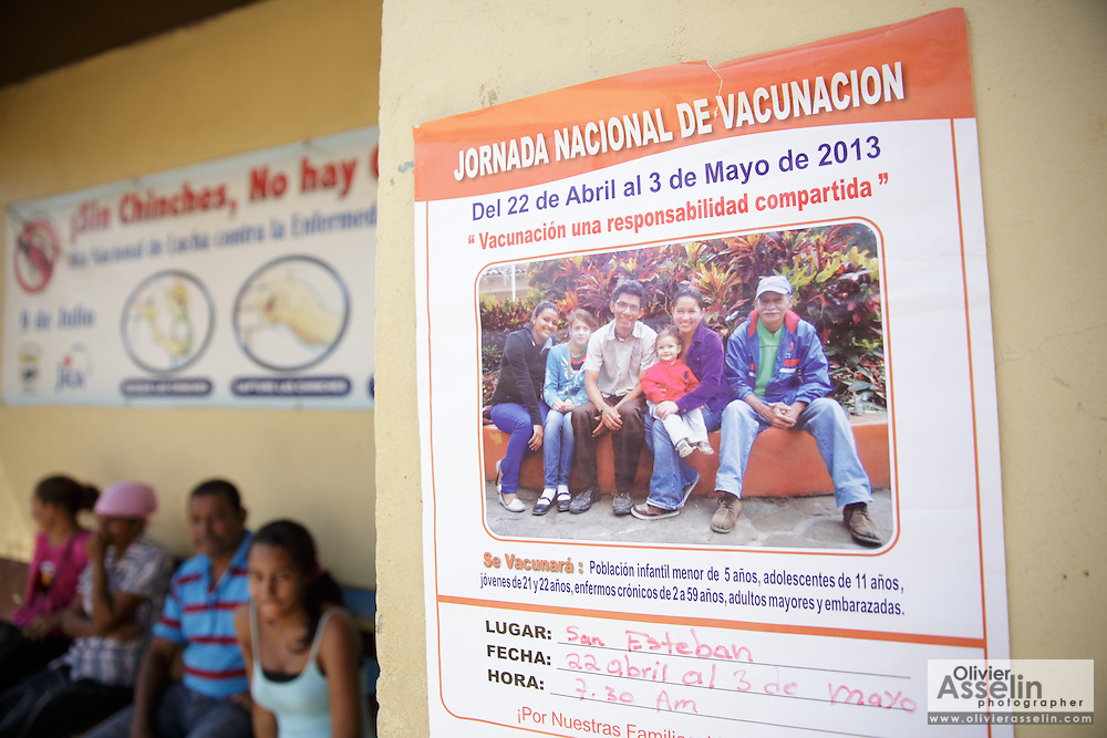Poster announcing the national vaccination days outside the health center in the town of San Esteban, Honduras on Wednesday April 24, 2013.